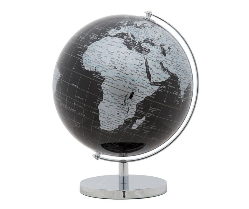 Ukras World Globe Black Silver