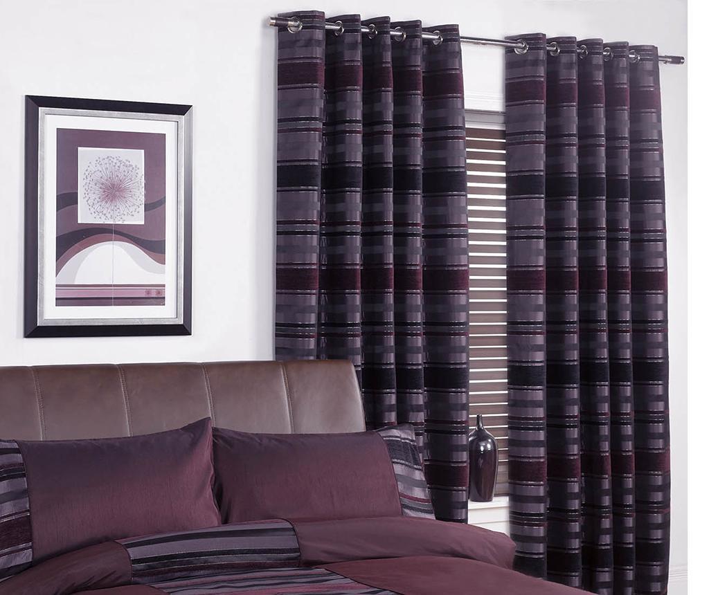 Set 2 draperii New York Aubergine 116x228 cm