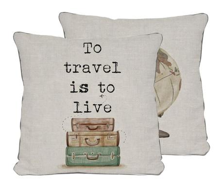 Ukrasni jastuk Travel is to Live 45x45 cm