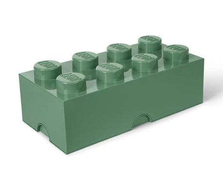 Kutija za pohranu s poklopcem Lego Rectangular Extra Sand Green