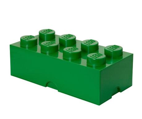 Kutija za pohranu s poklopcem Lego Rectangular Extra Dark Green