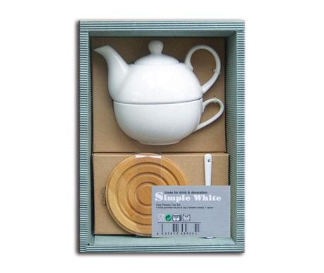 Set ceainic cu ceasca, lingurita si coaster Simple White