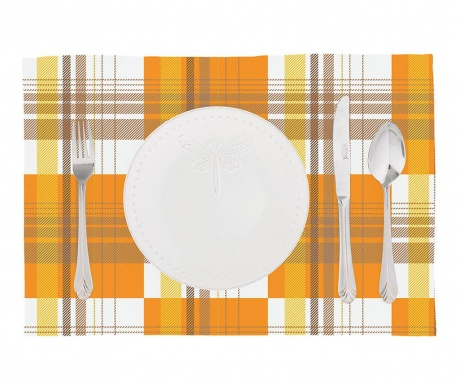 Set 2 pogrinjkov Orange Checks 33x45 cm