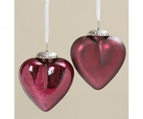Комплект 2 висящи декорации Crackle Hearts Red