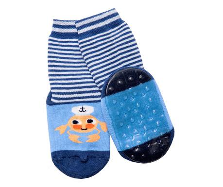 Чорапи с нехлъзгаща се подметка Crab Blue