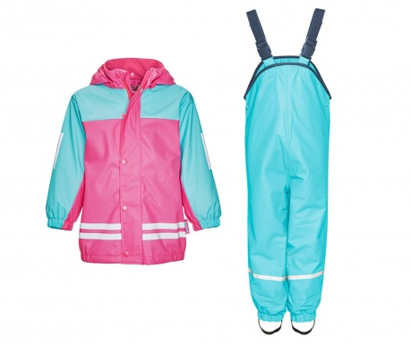 Komplet - otroška vodoodporna jakna in kombinezon Duo Colors Turquoise Pink 12-18 mesecev