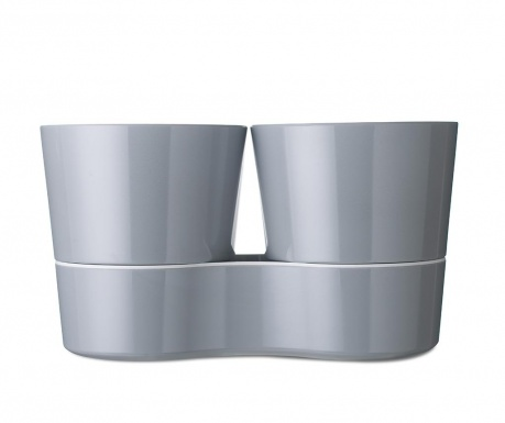 Σετ 2 γλάστρες με συστήματα αυτόματου ποτίσματος Hydro Herb Grey