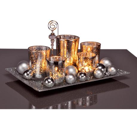 Zestaw 5 świeczników z podstawką i 12 dekoracyjnymi bombkami Shine