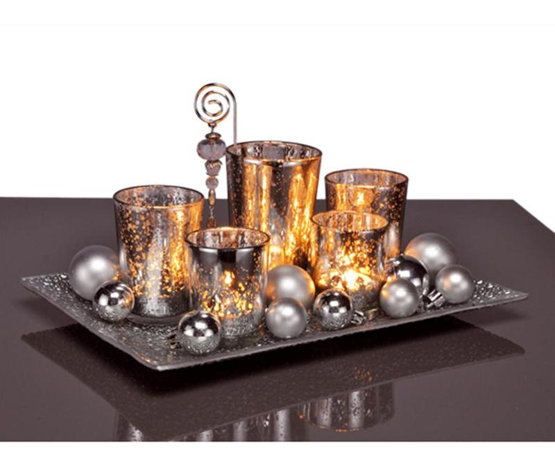 Set 5 držača za svijeću, držač i 12 ukrasne kuglice Shine