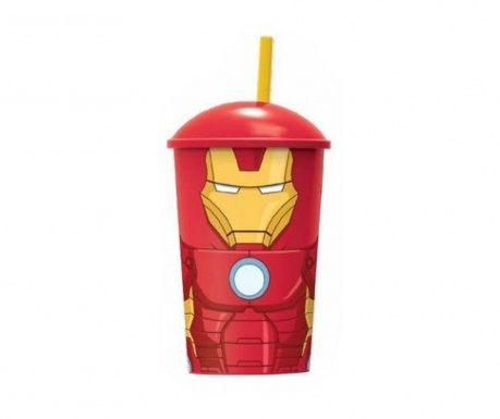 Iron Man Pohár fedővel és szívószállal 400 ml