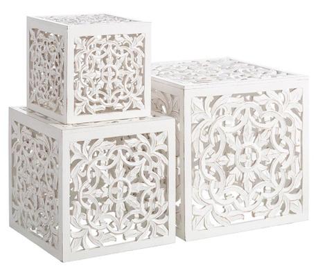 Sada 3 stolků Arabian Blanco