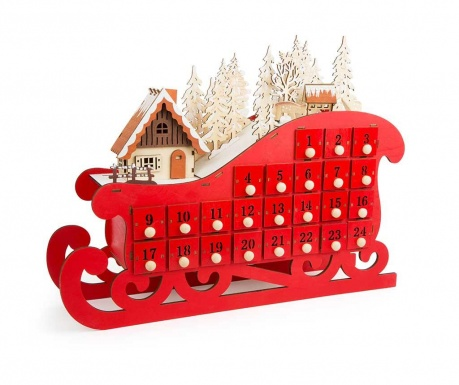 Decoratiune cu calendar Advent Sledge Red