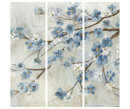 Sada 3 obrazů Blooming Azul 30x90 cm