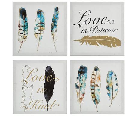 Set 4 tablouri Love is Kind 61x61 cm