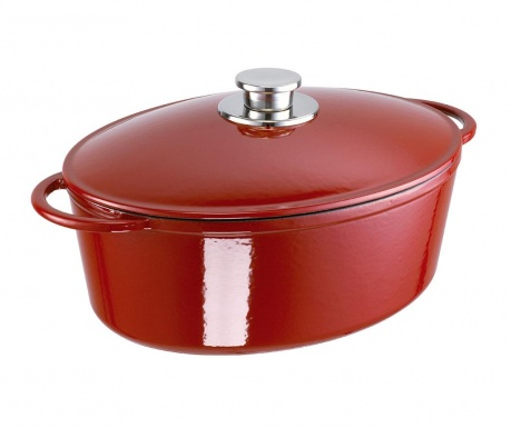 Naczynie do pieczenia z przykrywką Rustika Oval Red 7.1 L