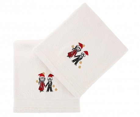Christmas Couple White 2 db Fürdőszobai törölköző 70x140 cm