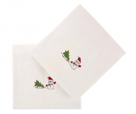 Set 2 prosoape de baie Tree and Snowman White 70x140 cm