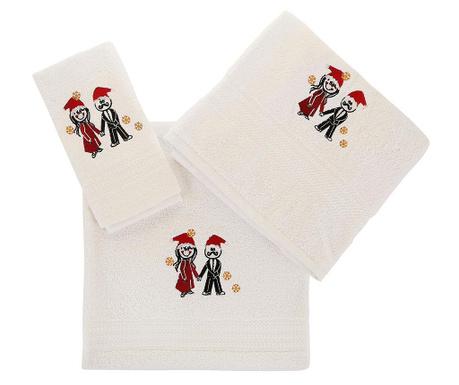 Christmas Couple White 3 db Fürdőszobai törölköző