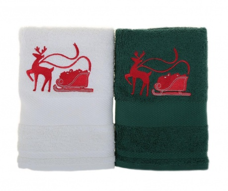 Set 2 prosoape de baie Sled with Reindeer White and Green 50x100 cm