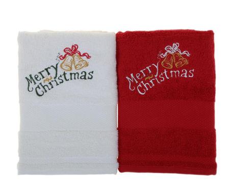 Merry Christmas White and Red 2 db Fürdőszobai törölköző 50x100 cm