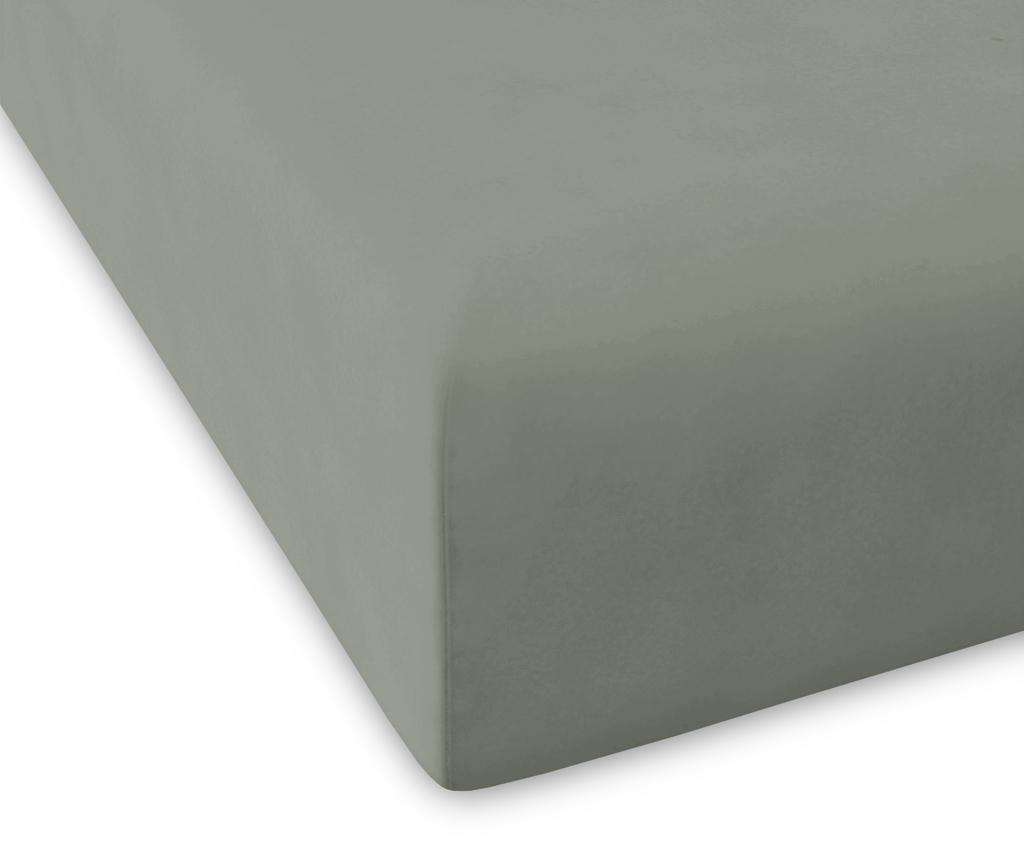 Cearsaf de pat cu elastic Percale Pure Green 90x200 cm