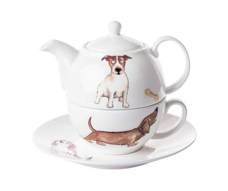 Set ceainic cu ceasca si farfurioara Dogs Home