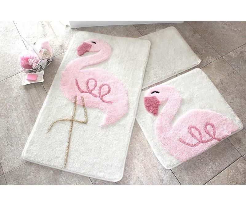 Sada 3 předložek do koupelny Pink Flamingos