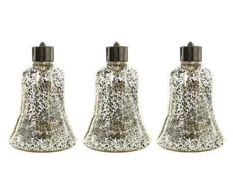 Set 3 svjetleće ukrasne kuglice Elenora Silver