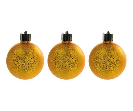 Set 3 svjetleće ukrasne kuglice Donell Gold