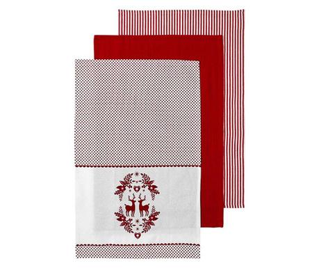 Zestaw 3 ręczników kuchennych Noella Red 45x70 cm