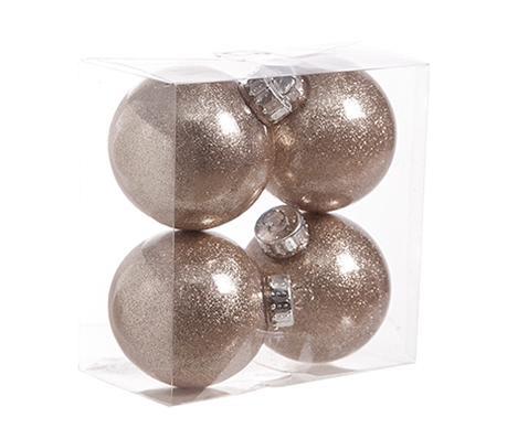 Σετ 4 διακοσμητικές μπάλες Glitter Champagne