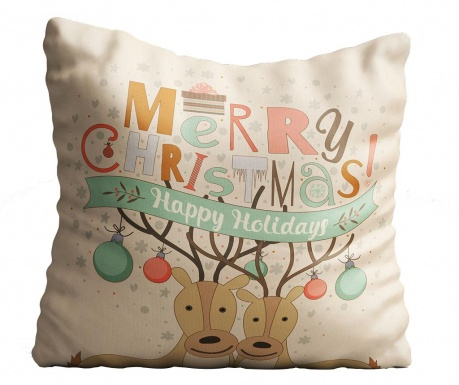 Perna decorativa Happy Holidays 43x43 cm