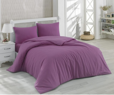 Posteljnina Double Ranforce Mono Plum