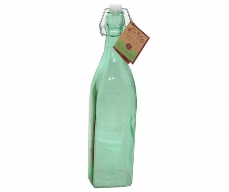 Kilner Clip Square Green Üvegpalack hermetikus dugóval 1 L
