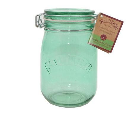 Kilner Clip Round Green Befőttesüveg hermetikus fedővel 1 L