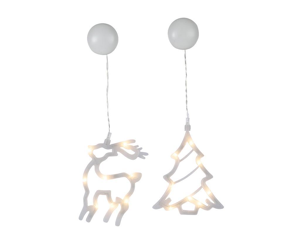 Set 2 viseća svjetleća ukrasa Tree And Deer