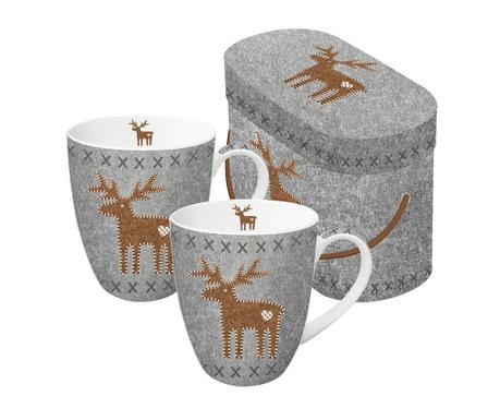 Set 2 šalice Felt Reindeer 350 ml