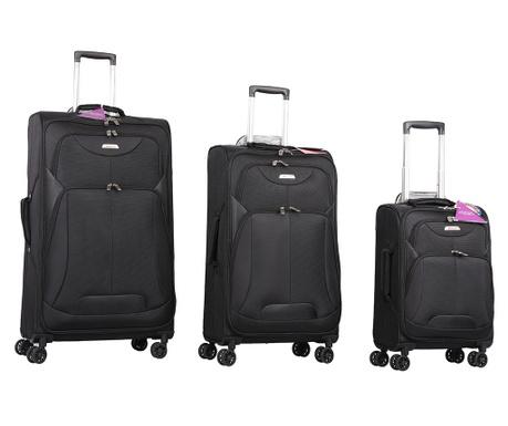 Zestaw 3 walizek na kółkach Kesington Black