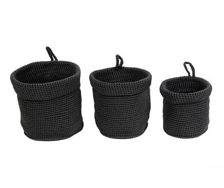 Set 3 košare Weave Black