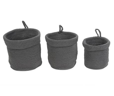 Set 3 košare Weave Mouse Grey