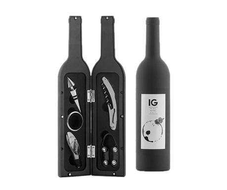 Set accesorii pentru sticla de vin 5 piese si suport Kingdom