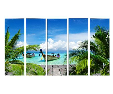 Sada 5 obrazov Palm Tree 30x90 cm