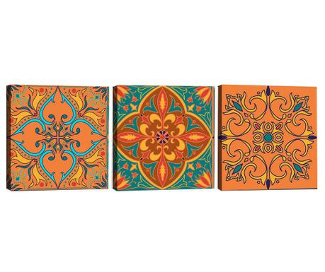 Zestaw 3 obrazów Mandala Scarlet 30x30 cm