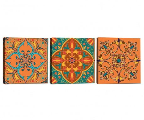 Sada 3 obrazů Mandala Scarlet 30x30 cm