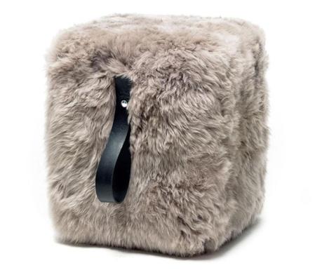 Fluffy Cube Beige Black Zsámoly