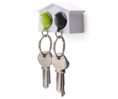 Set 2 brelocuri si suport pentru chei Mini Sparrow White Green Black