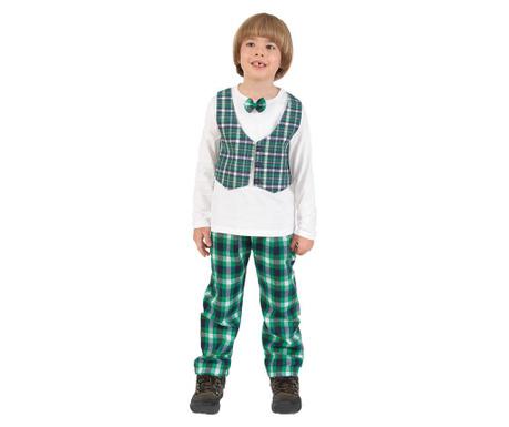 Komplet - otroška majica in hlače Checkered Vest Green