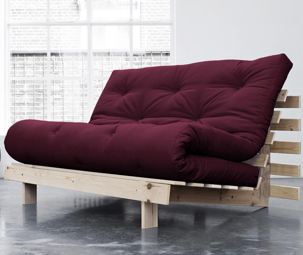 Sofa extensibila Roots Wide Natural and Bordeaux Red