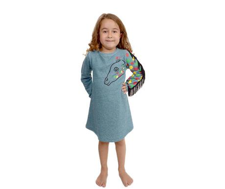 Otroška obleka z dolgimi rokavi Fringed Giraffe Grey