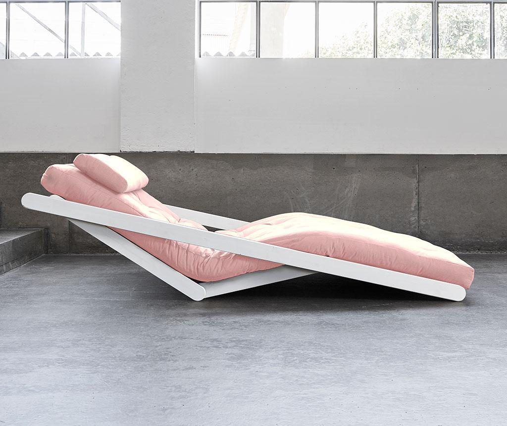 Figo Wide White and Peonie Pink Kihúzható nappali heverő